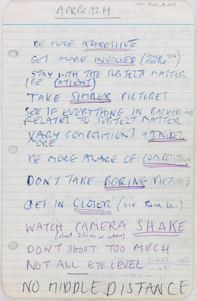 Page from Tony Ray-Jones' notebook, 1965-69