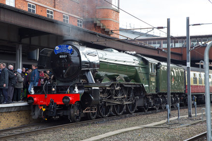 Flying Scotsman locomotive on its inaugural run after completion of restoration, February 25th 2016.
