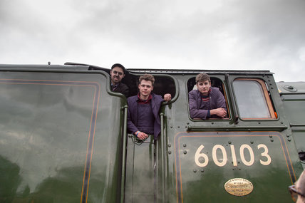 The crew of the Flying Scotsman locomotive after its inaugural run at North Yard, National Railway Museum, February 25th 2016.