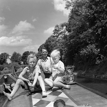 Holiday makers on a barge, 1950