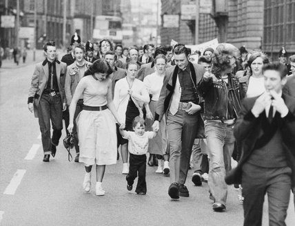 Teddy Boys protest march in Manchester