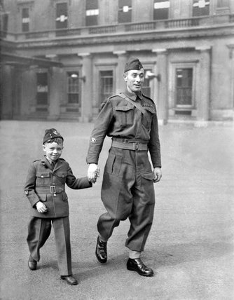Company Sergeant-Major A. Hall, DCM, with his son Henry