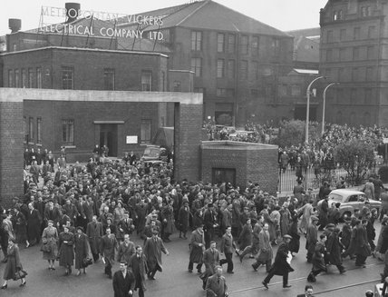 Workers leaving the Metropolitan Vickers Electrical Company