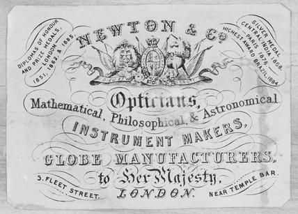 Trade card of Newton & Co, 3 Fleet Street, London, 1865.