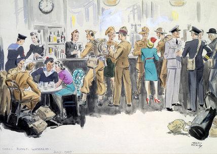 Small buffet at Waterloo Station, London, July 1940.