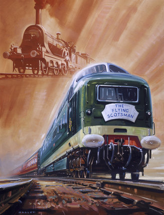 'The Flying Scotsman', original watercolour for a BR poster, 1962.