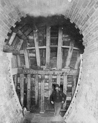 Constructing the Blackwall Tunnel, London, c 1895.