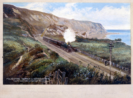 Steam locomotive and train, Folkestone Warren, Kent, early 20th century.