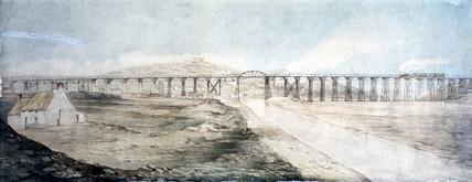 Original wooden viaduct at Landore, Wales, c 1850.