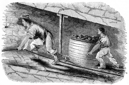 Working with girdle and chain in a mine, 1842.