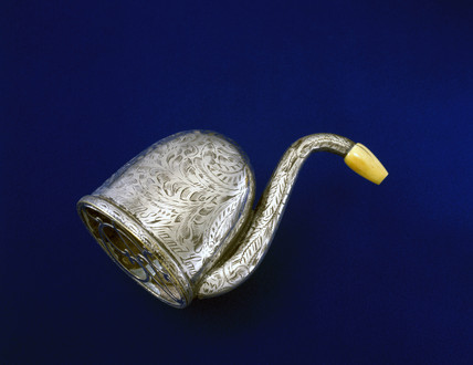 Swan shaped silver hearing aid trumpet, English, c 1865.