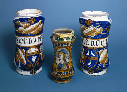 Three Italian earthenware pharmacy jars, 1520-1580.