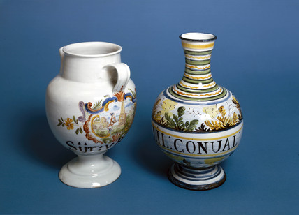 Two pharmacy jars, 18th century.