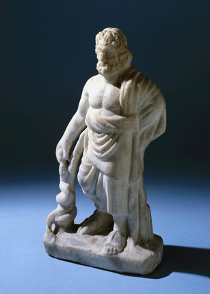 Asclepius, marble statuette, Greek, 400-200 BC.