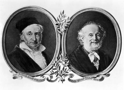 Carl Friedrich Gaus and Wilhelm Eduard Weber, 19th century.