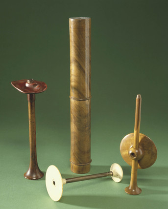 Four monoaural stethoscopes, 19th century.