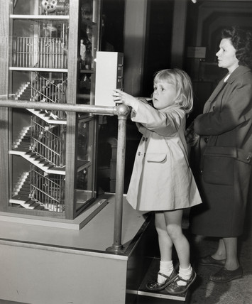 Children and apparatus in the Children's Gallery, Science Museum, 1963.