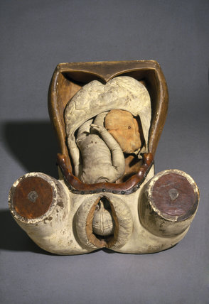 Obstetric model of the womb and genitalia, 18th century.