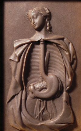 Female figure showing alimentary canal and arterial supply, early 19th century.