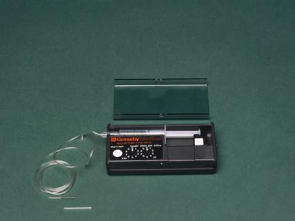 Portable insulin infusion pump, 1980s.