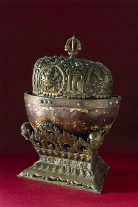 Bowl made from a human skull and lined with bronze, Tibetan, 19th century.