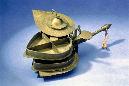 Heart-shaped spice, betel nut, or medicine box, Tibetan, 19th century.