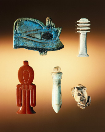 Group of Ancient Egyptian amulets, 4000-30 BC.
