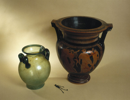 Greek and Roman mixing bowls with 'Larva Convivialis', 450 BC-200 AD.