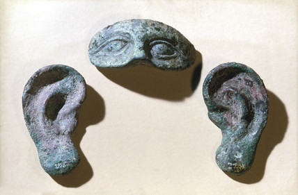 Roman votive eyes and ears, bronze, 200 BC-100 AD.