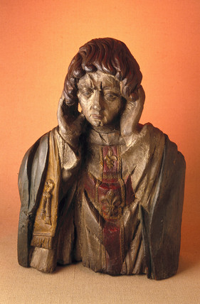 Wooden statue of St Livertin, French, 17th century.