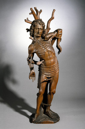 Statue of St Sebastian, German, posibly 16th century.