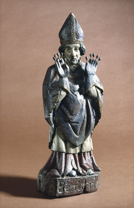 Wooden statue of St Benignus, probably French, 17th century.