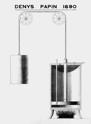 Denis Papin's steam cylinder apparatus, 1690.