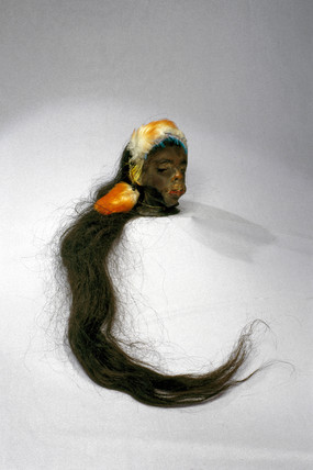 Shrunken head, South American, 19th century.
