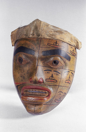 Carved wooden mask, Haida, Canada.