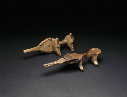 Pair of Nuba wooden pattens (shoes), Sudan, c 1890-1920.