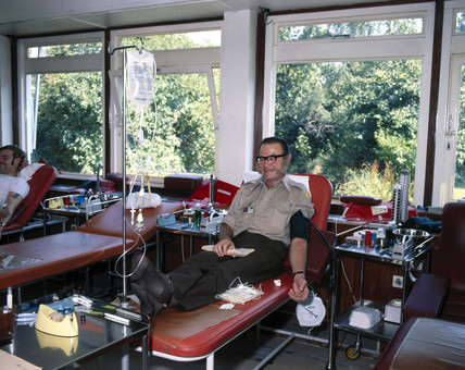 Blood donor at the North London Blood Transfusion Centre, 1980.