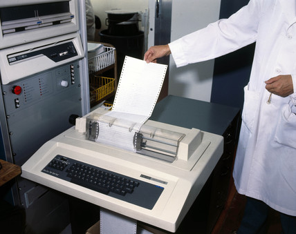 Computer printout of details of blood transfusion patients, 1980.