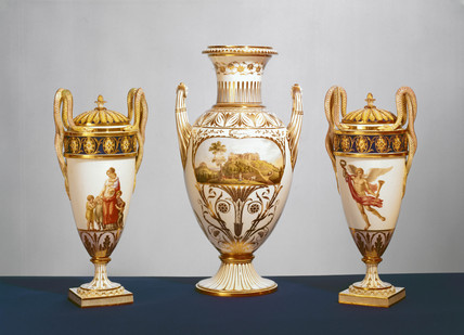 Group of Meisen vases, c 1820.