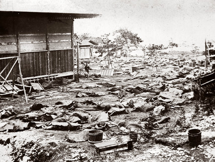 Devastation following an earthquake, Japan, 1876.