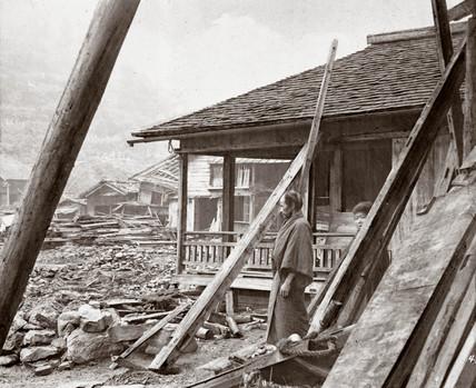 Devastated houses following an earthquake, Japan, 1876.