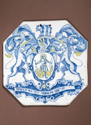 Pharmacy tile, English, 17th century.