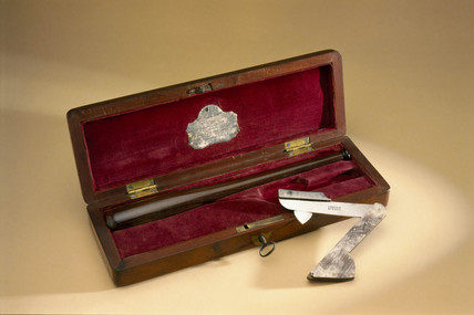 Steel fleam and bloodstick in mahogany case, 1850-1853.