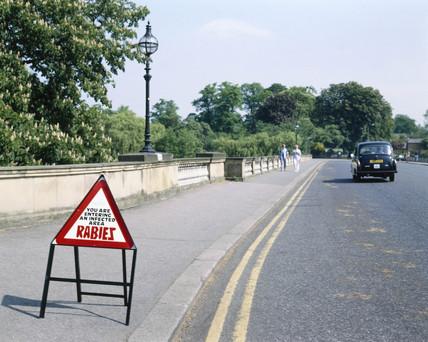 Rabies sign, England, 1989.
