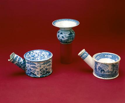 Three spittoons, 18th or 19th century.