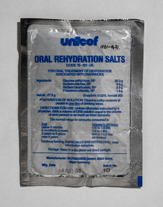 UNICEF oral rehydration salt mixture, 1981.