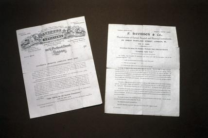 Instruction sheets for eye testing equipment, 1901-1910.