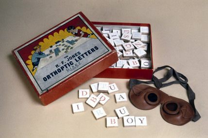 Orthoptic letters and goggles, c 1945-1965.