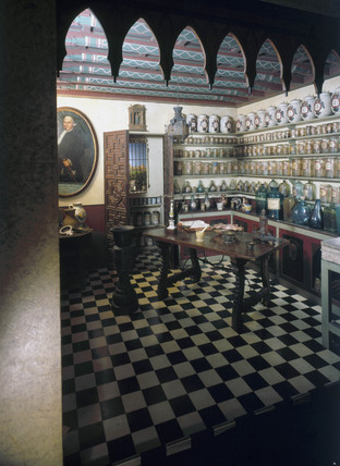 Hispano-Moresque pharmacy, Spanish, c 1790.