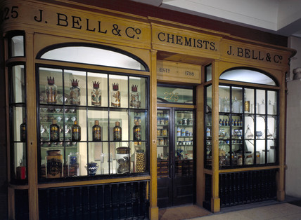 J Bell & Co's chemist shop front, 1798-1909.